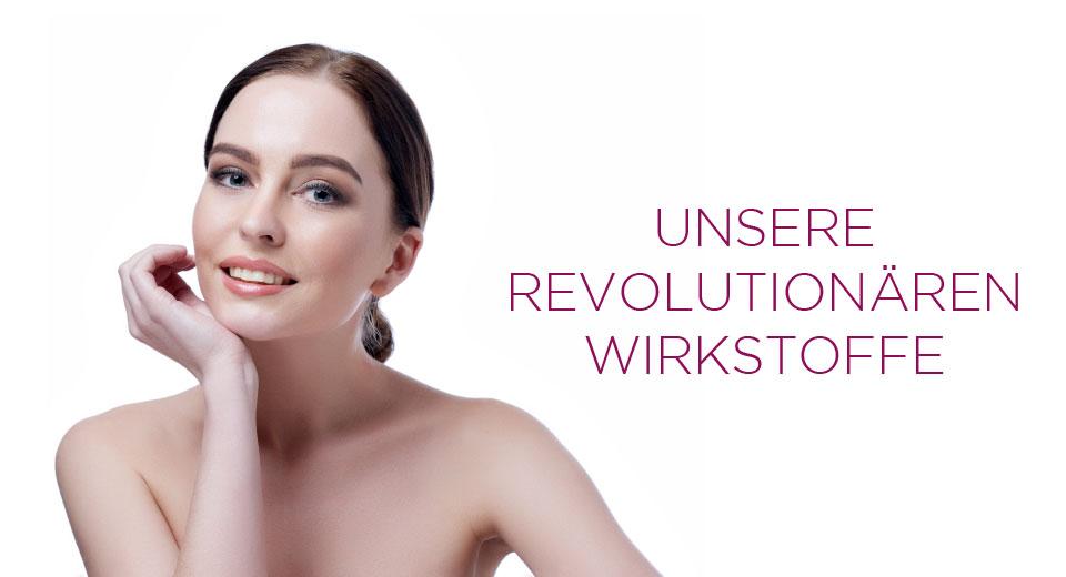Cellstar Banner mit weiblichem Model und der Aufschrift: Unsere revolutionären Wirkstoffe