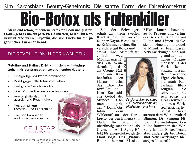 Eingescannter Artikel zu den Anti Aging und gesichtsstraffenden Produkten von Cellstar Kosmetik
