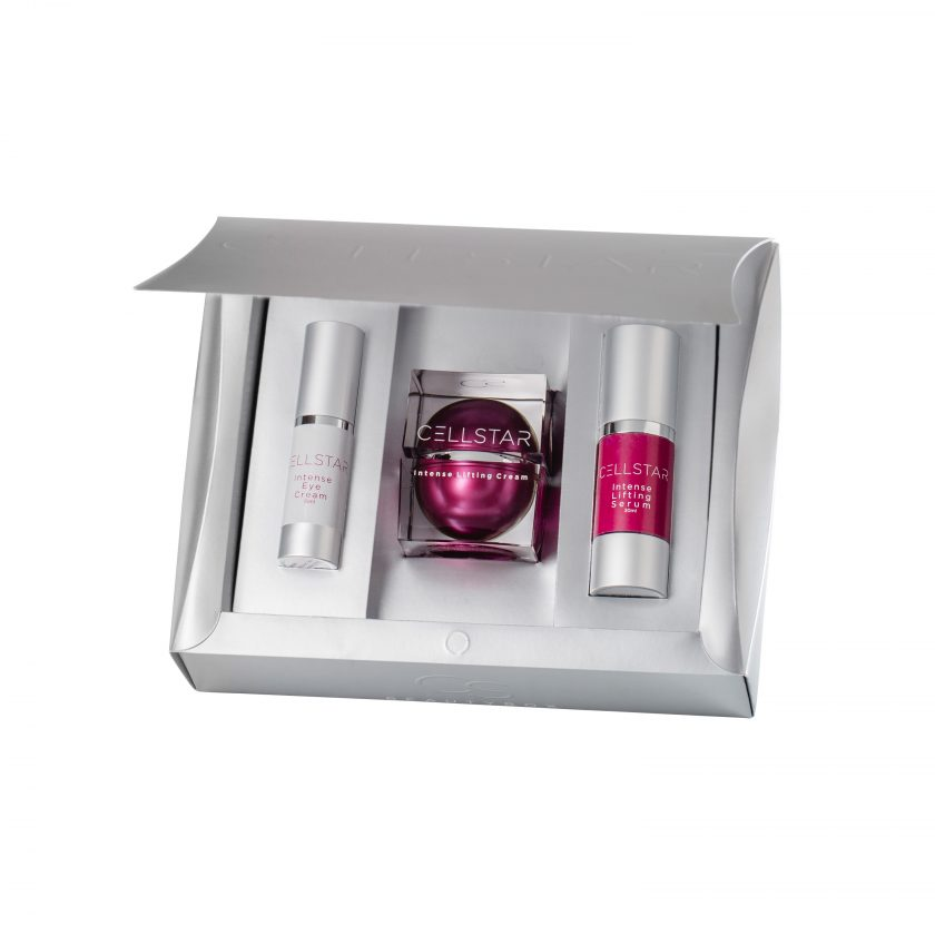 Die Cellstar Beauty Box: geöffnete Box gefüllt mit Cellstar Intense Lifting Eye Cream, Intense Lifting Serum und Intense Lifting Cream