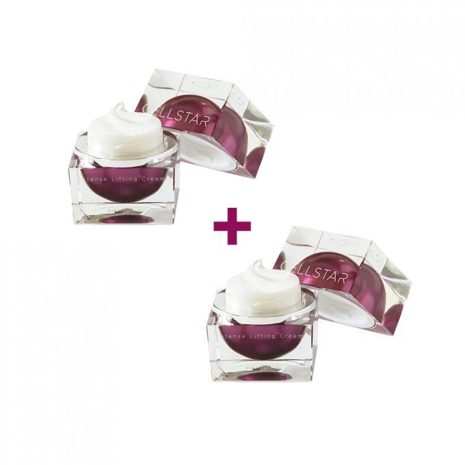 Das Cellstar Cream Duo: Produktfoto von zwei geöffneten Intense Lifting Creams von Cellstar