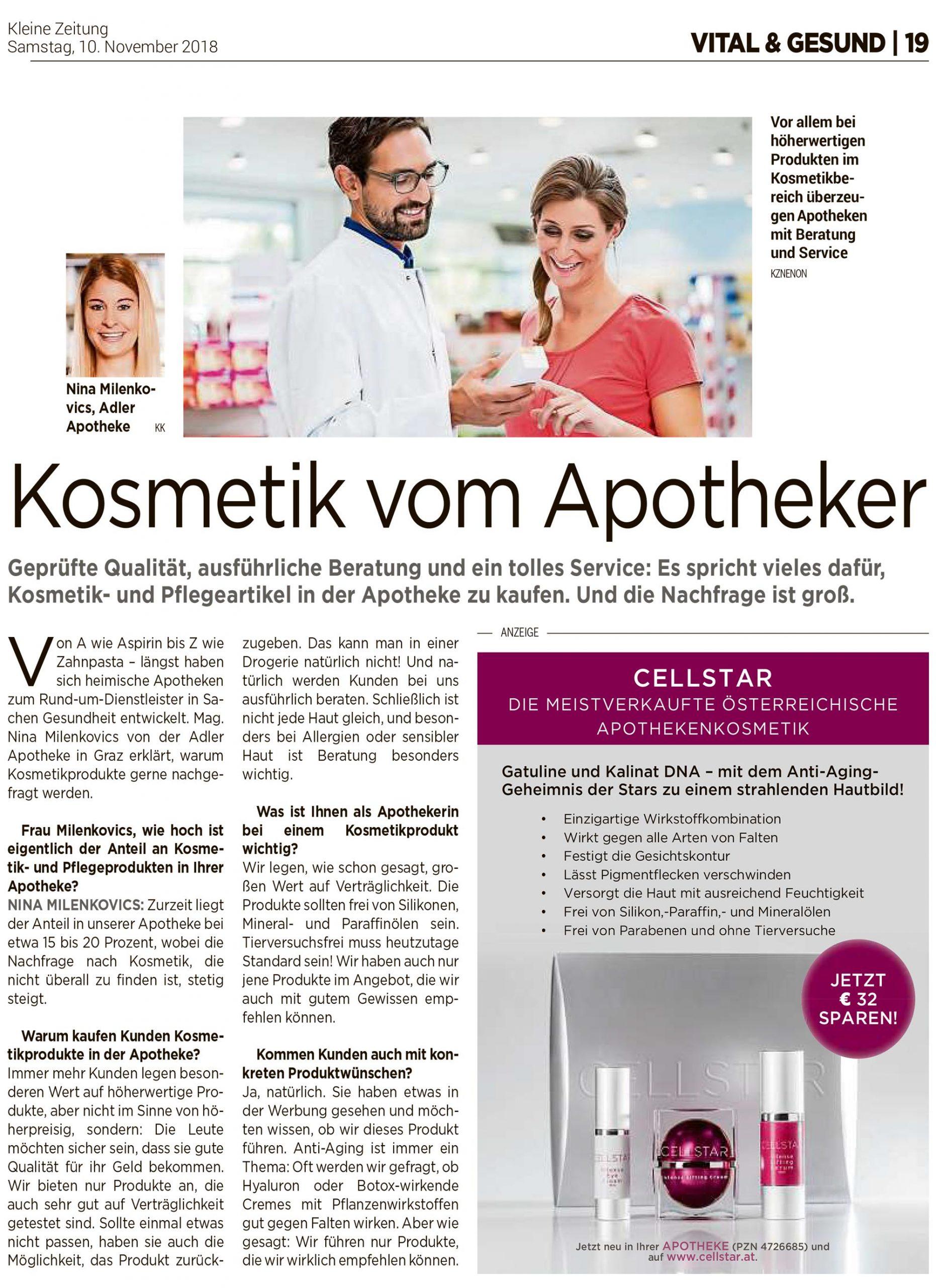 Eingescannter Artikel zu den Anti Aging und gesichtsstraffenden Beauty Produkten von Cellstar Kosmetik