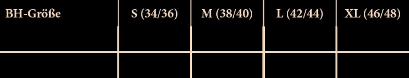 Größentabelle des Cellstar Marie-BHs