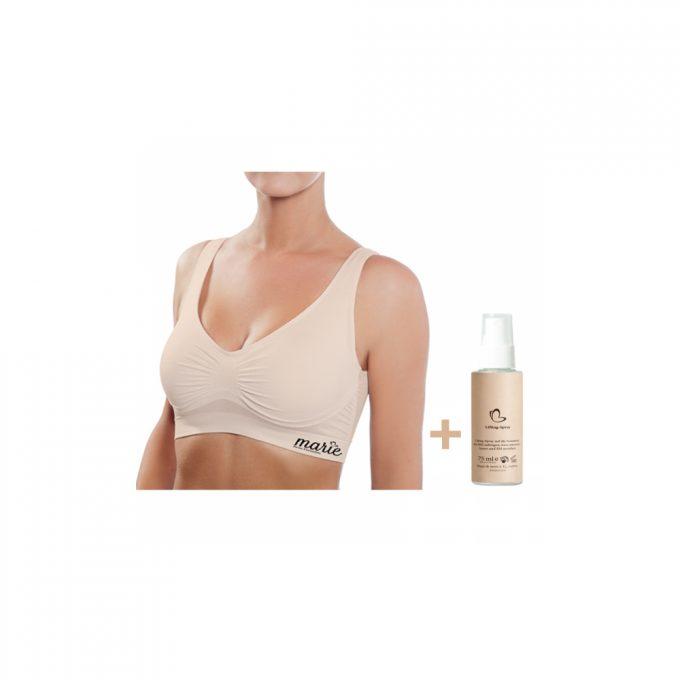 Model trägt einen hautfarbenen Cellstar Marie Bra plus Lifting-Spray