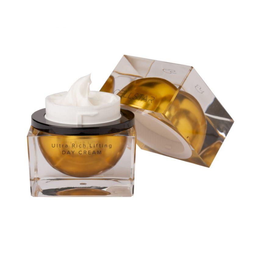 Produktfoto einer offenen Cellstar Ultra Rich Lifting Day Cream, eine reichhaltige Tagescreme für die Bedürfnisse trockener und empfindlicher Haut.
